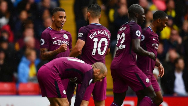 TREBLE CHEER: Gabriel Jesus celebrates after grabbing City's third goal