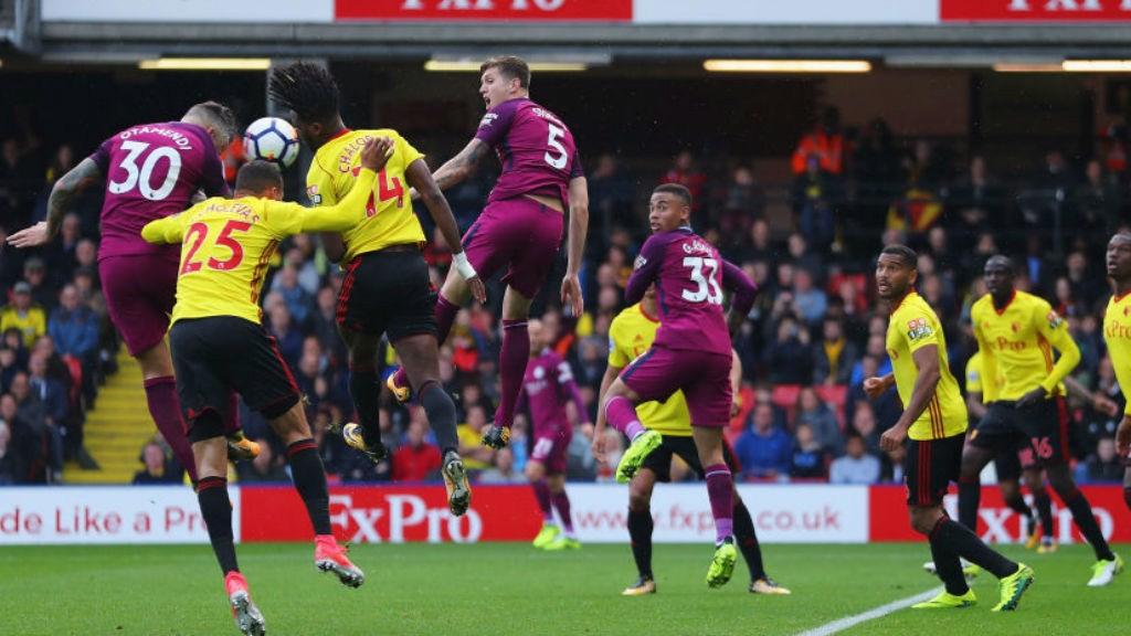 FOUR TOPS: Nicolas Otamendi heads home City's fourth goal