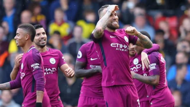NIC KNACK: Nicolas Otamendi celebrates after scoring City's fourth goal