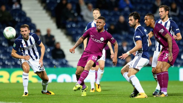 ACTION MAN: Gabriel Jesus lets fly at the West Brom goal