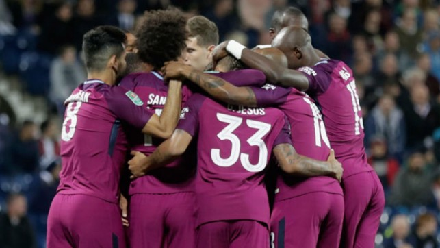 GOALDEN VISION: The City players salute Leroy Sane after his third minute strike