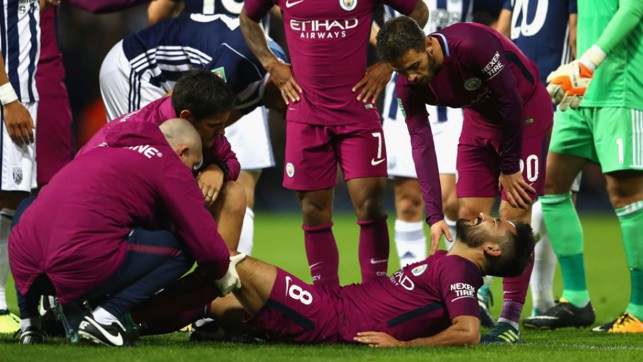 PAIN GAME: Ilkay Gundogan's night ended with City man picking up an injury