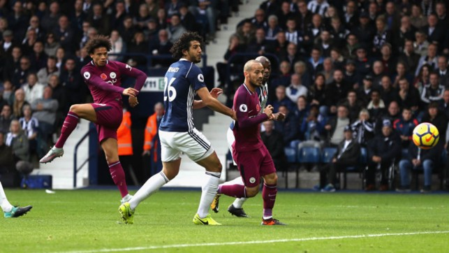 ON FIRE: Leroy Sané opens the scoring with his eighth goal of the season.