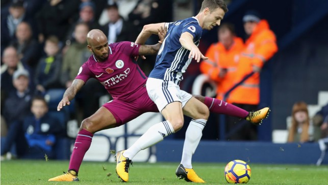 INVOLVED: Fabian Delph saw plenty of the ball, testing Baggies stopper Ben Foster with efforts from distance.
