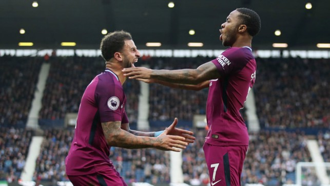 STERLING JOB: Raheem celebrates scoring his ninth goal of the season.