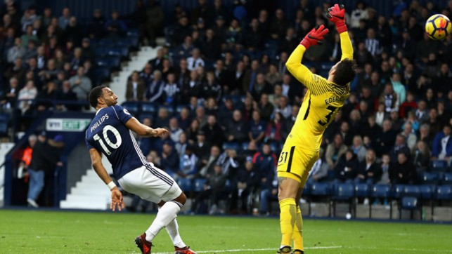 CITY HOLD OUT: Matt Phillips scores West Brom's second, but it is not enough as City record a club-record 13th consecutive win.