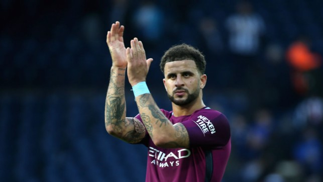 FULL VOICE: Kyle Walker applauds City's noisy away end at the Hawthorns after this afternoon's 3-2 victory.