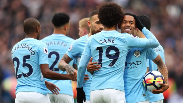 DEADLOCK BROKEN: City celebrate after Leroy Sané scored his tenth goal of the season to take an early lead.
