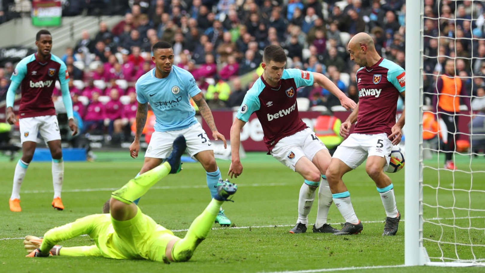 OG: Declan Rice puts through his own goal to double City's lead - the Blues' 100th goal of the Premier League season.