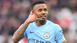 ON CALL: Gabriel Jesus celebrates his fourth goal in four games.
