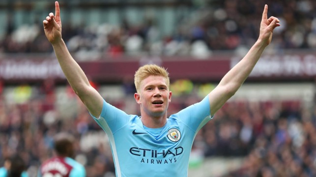 ASSIST KING: Kevin De Bruyne celebrates after seeing his cut-back converted by Declan Rice.