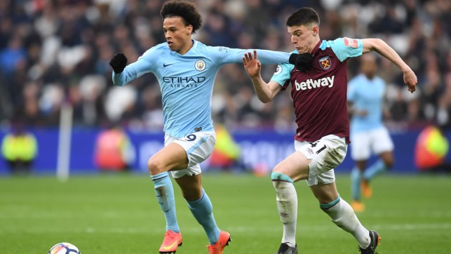 SPEEDSTER: Leroy Sané bursts past West Ham's Declan Rice.