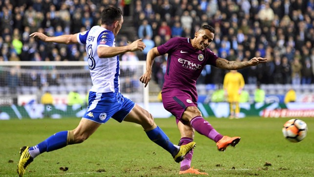 STRIKE: Danilo tries his luck from distance.
