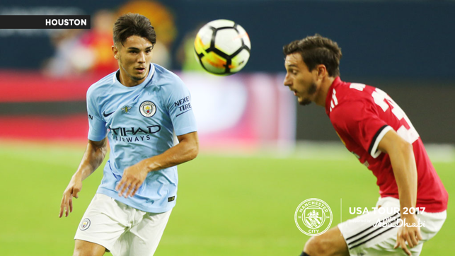 A CITY UNITED: Brahim Diaz goes after the ball
