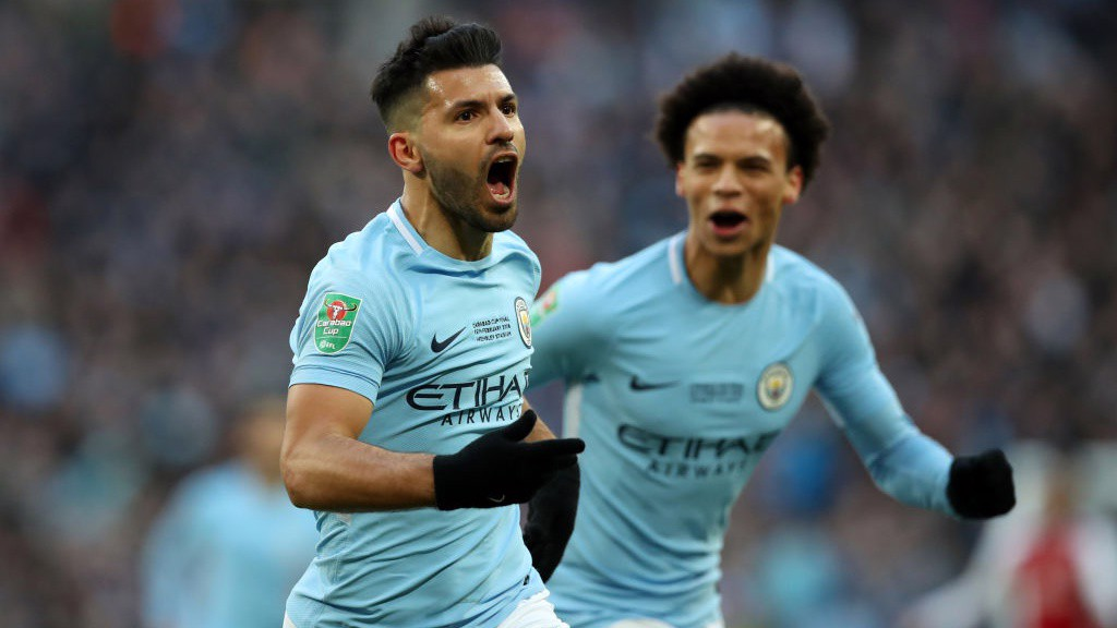 GET IN: Sergio Agüero celebrates breaking the deadlock with his 199th City strike