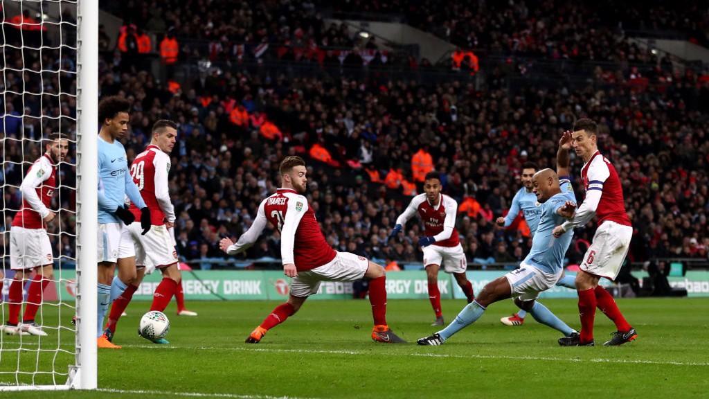 POACHER'S FINISH: Vincent Kompany scores City's second
