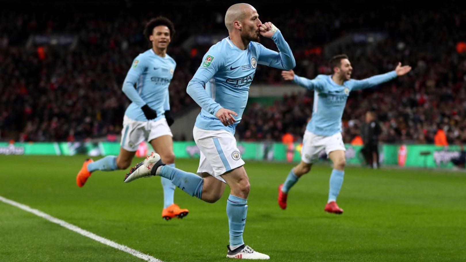 UNSTOPPABLE: David Silva celebrates extending the lead to three.​
