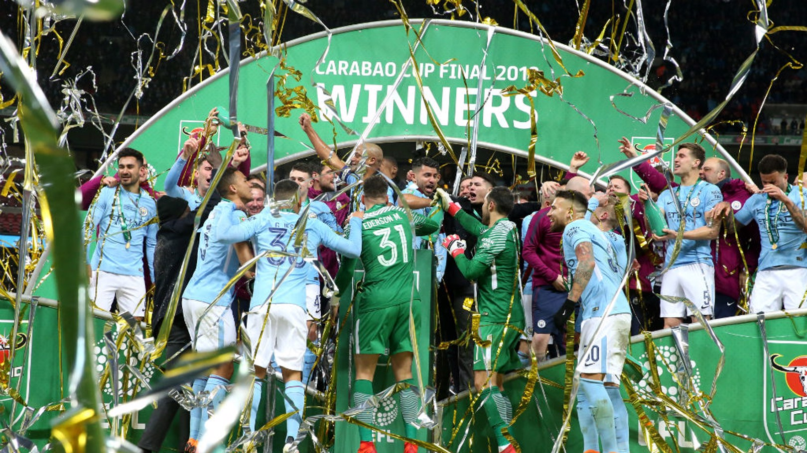 WINNERS: City lift the 2017 Carabao Cup