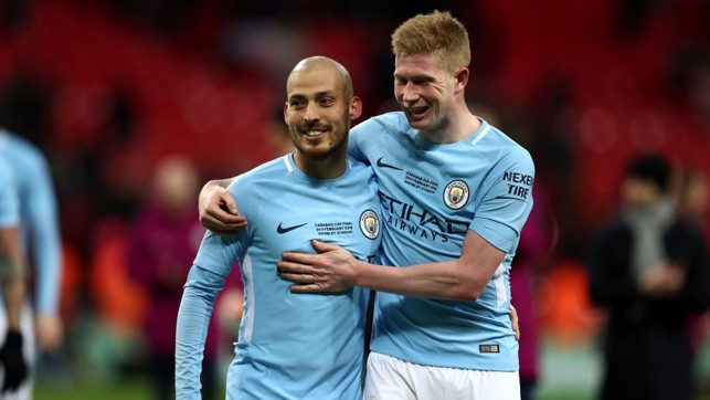 WHAT A DUO: City's midfield maestros celebrate at full-time.