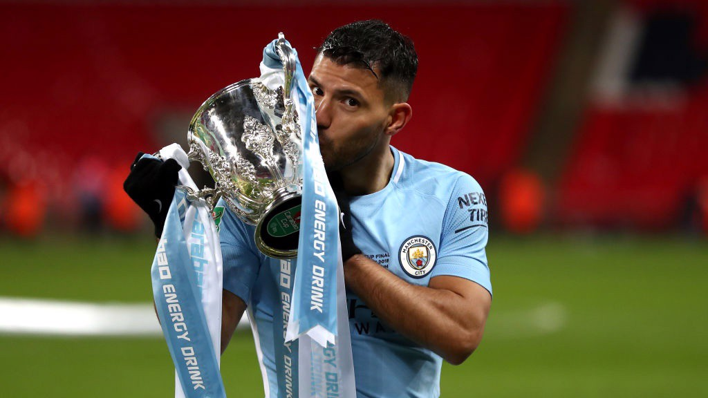 ​MAIN MAN: Sergio Agüero's first goal in a European domestic final sent City on their way.