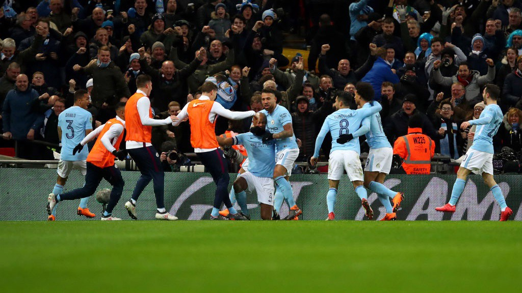 TOGETHER: City celebrate during a wonderful second-half performance at Wembley.