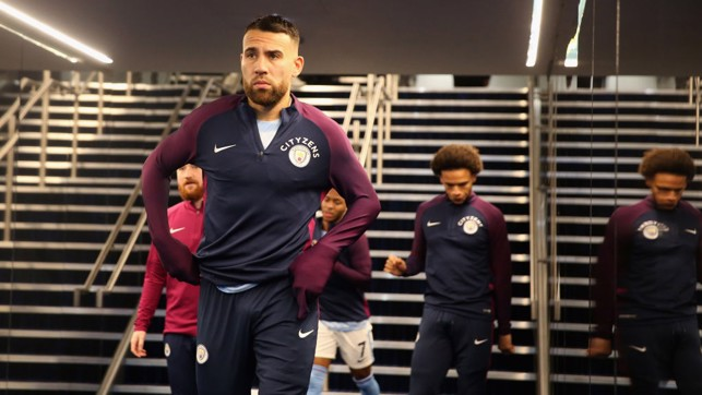 THE GENERAL: Nicolás Otamendi makes his way out for the warm up.