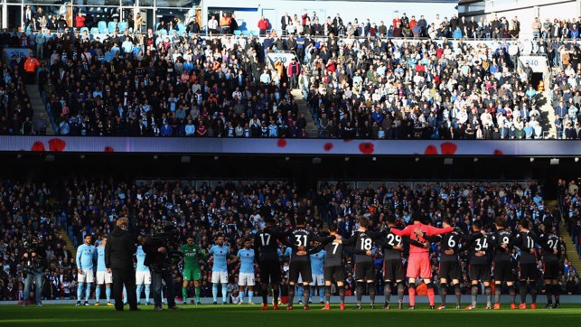 REMEMBRANCE: A minute's silence is impeccably observed at the Etihad.