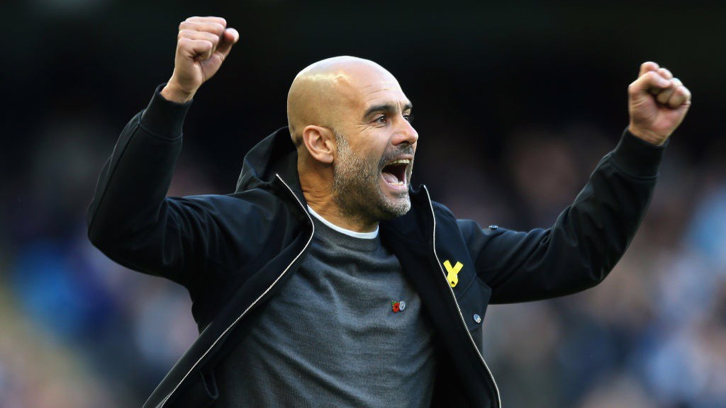 SUNDAY BEST: Pep Guardiola can't contain his joy after City's third goal