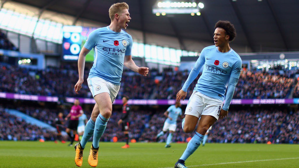 ON THE MONEY: Kevin De Bruyne celebrates putting City in the lead.