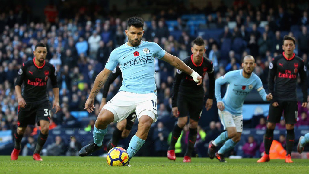 SPOT ON: Sergio Aguero doubles City's lead from the penalty spot