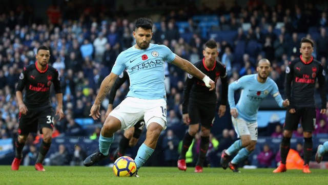 NO MISTAKE: Sergio Aguero doubles City's lead from the penalty spot, scoring his sixth goal in his last eight matches against Arsenal.