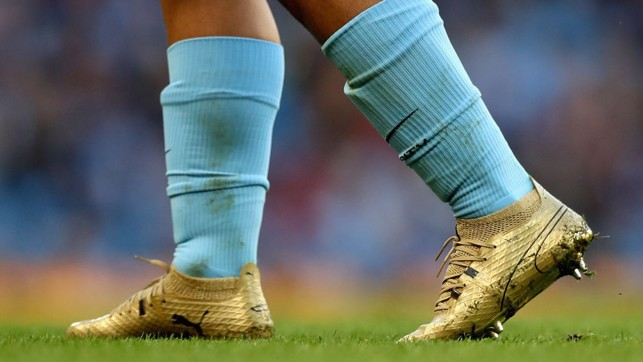 FANCY FOOTWORK: Sergio Aguero sports an catching pair of boots after breaking the club's goalscoring record.