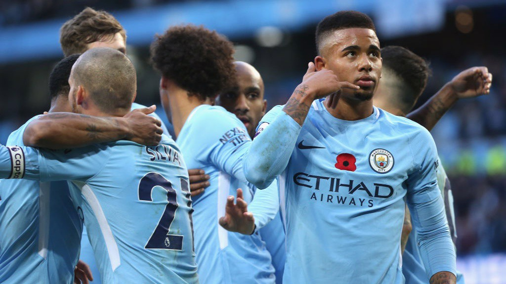 CALLED UPON: Substitute Gabriel Jesus celebrates scoring City's third of the afternoon.