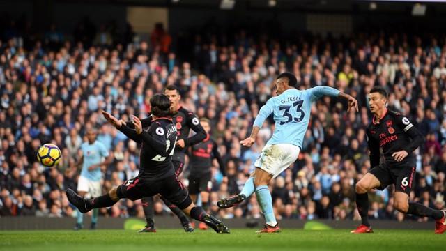 FAB GAB: Gabriel Jesus slots home Kevin De Bruyne's cut-back for City's third.