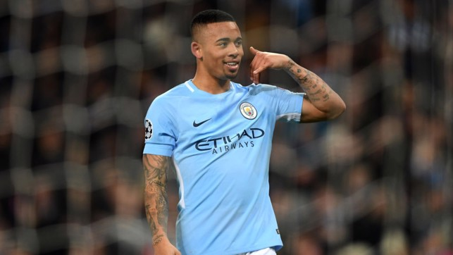 ​BACK IN THE GOALS: Gabriel Jesus celebrates handing City an early lead.