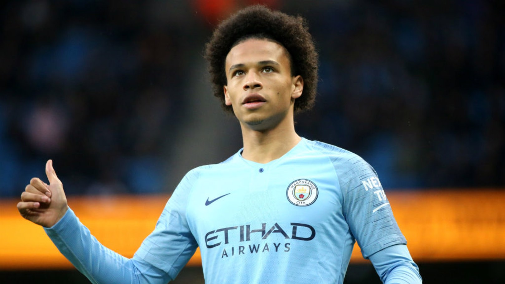 ​THUMBS UP: Our new 2018/19 home kit gets the seal of approval from Leroy Sane.