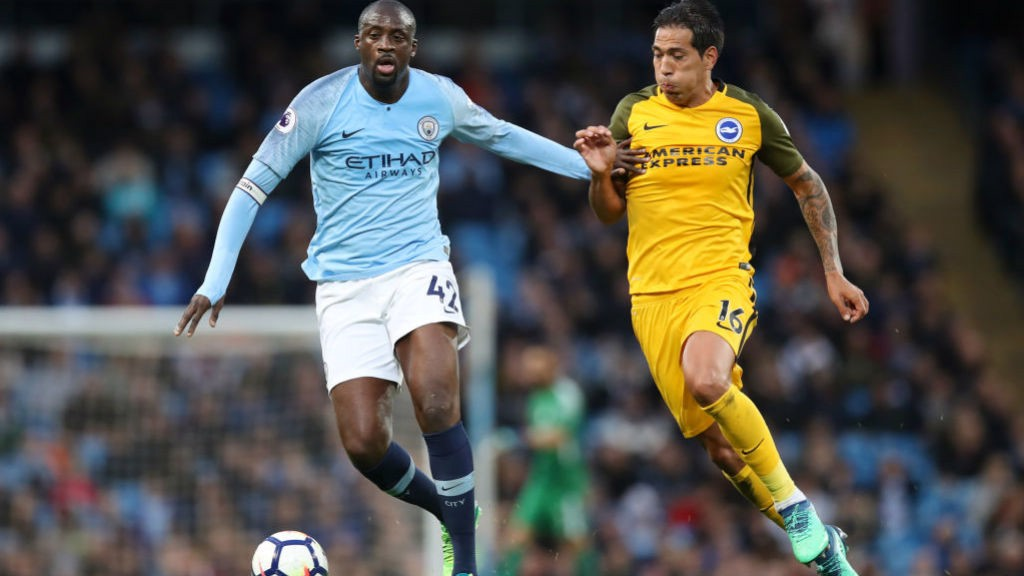 TOURE DE FORCE: Yaya drives forward for one last time at the Etihad