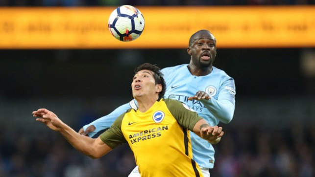 THE KING: Yaya launches into aerial battle.