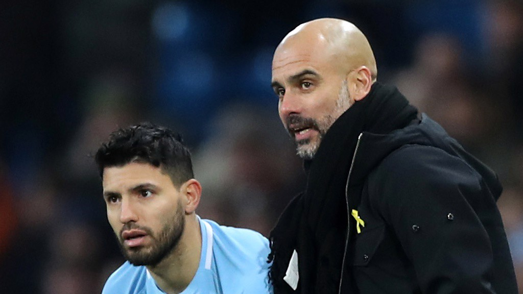 BIG GUNS: Pep Guardiola turns to Sergio Agüero on 70 minutes.