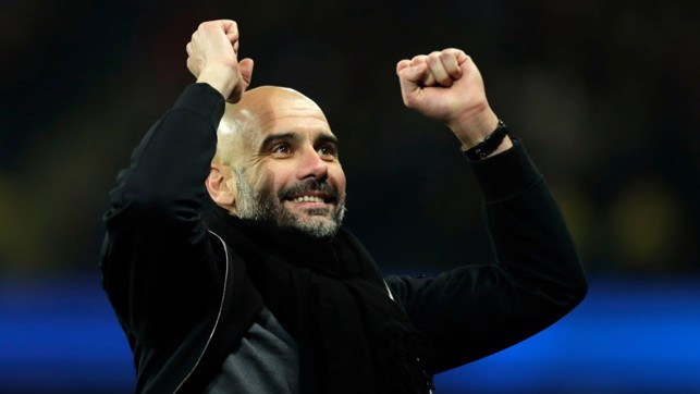 ​MASTERMIND: Pep Guardiola celebrates as substitute Sergio Agüero scores a late winner.