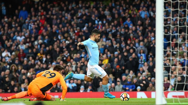 SERGIO, SERGIO: The Argentine scores his second in as many minutes to put City in front.