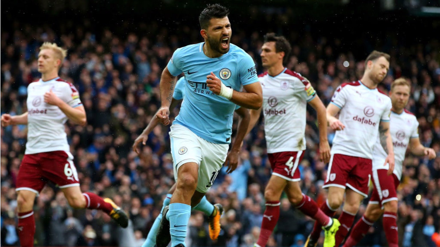 BLUE HEAVEN: Sergio Aguero celebrates after firing home his penalty