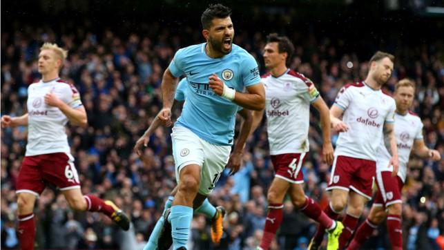 BLUE HEAVEN: Sergio Aguero celebrates after firing home his penalty