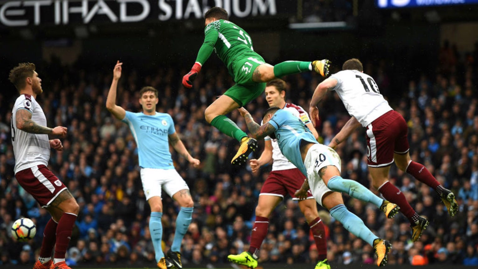 ACTION MAN: Ederson clears the danger for City in spectacular style