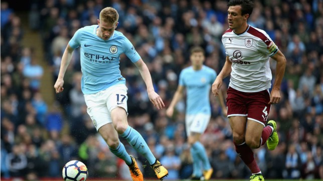 TOUR DE FORCE: Kevin De Bruyne takes the game to the Burnley defence