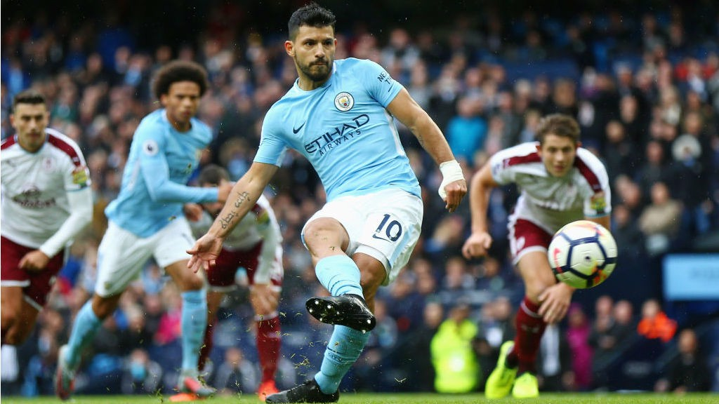 HISTORY MAN:  Sergio Aguero fires home from the penalty spot to equal City's all-time goalscoring record