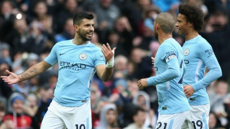 LEVEL BEST: Sergio Aguero celebrates with Leroy Sane and David Silva