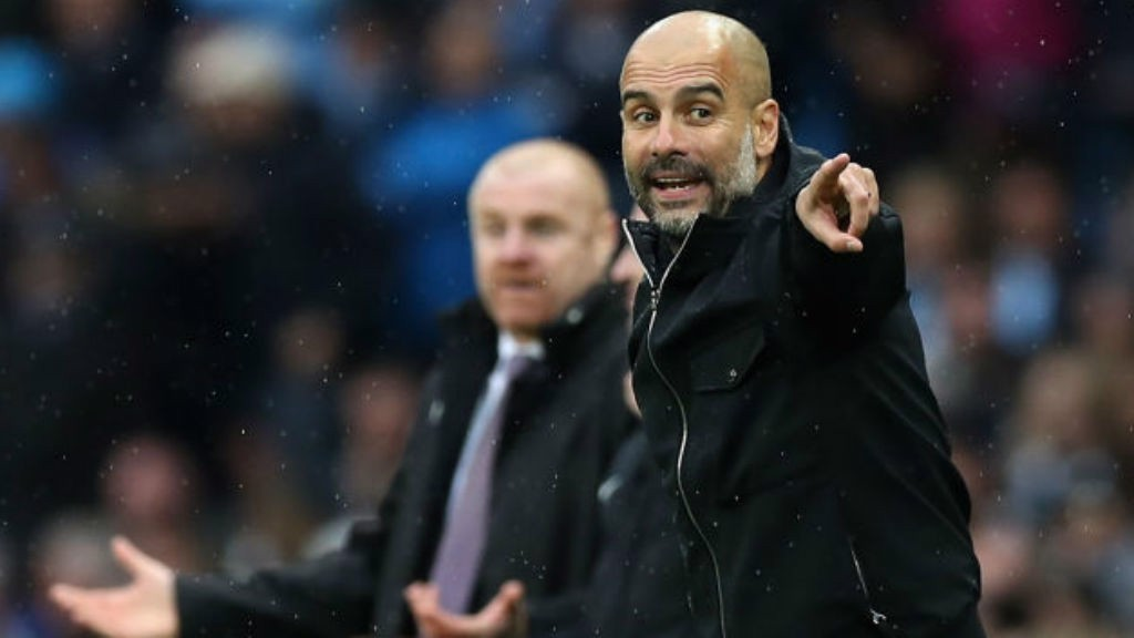 LEADING MAN: Pep Guardiola points the way forward for City in their 3-0 win over Burnley