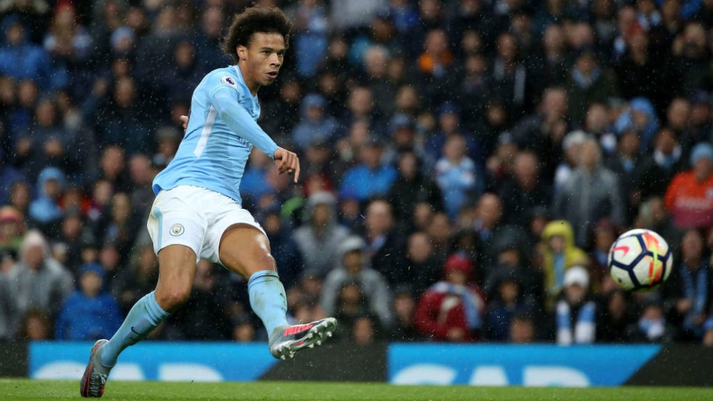 TRIPLE CROWN: Leroy Sane fires home City's third goal
