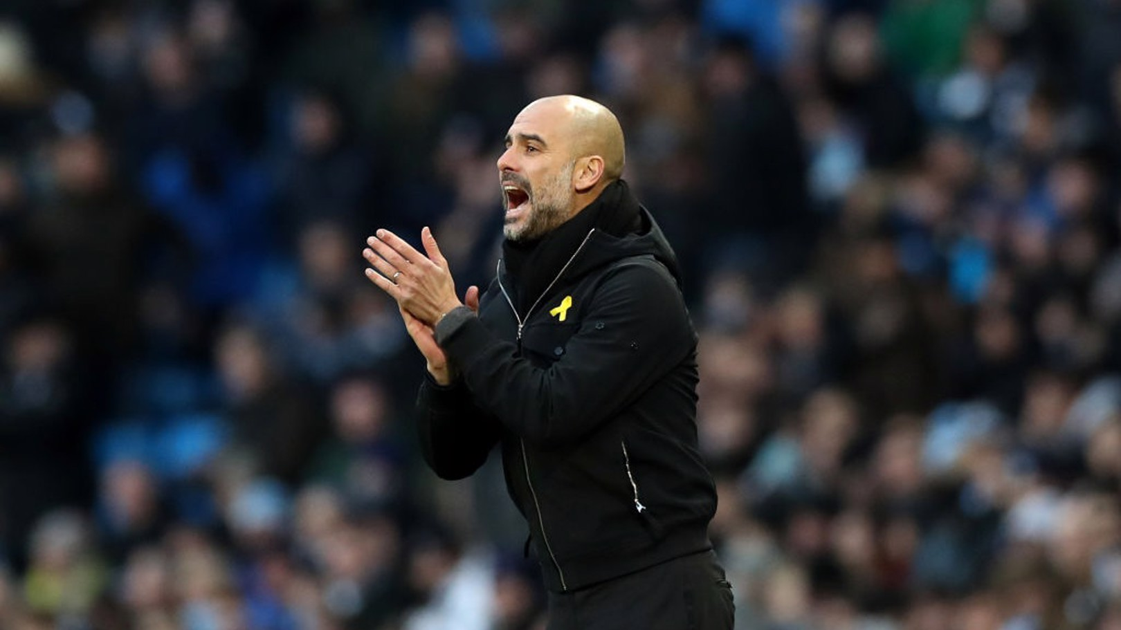 PEP WATCH: The manager encourages his side looking for a way through a resilient Burnley defence.